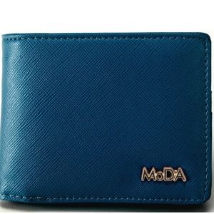 Handbags - Unisex Solid Blue Vegan Leather Bi-Fold Wallet